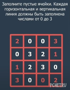 Заполните пустые ячейки. Каждая горизонтальная и вертикальная линия должны быть заполнена числами от 0 до 3